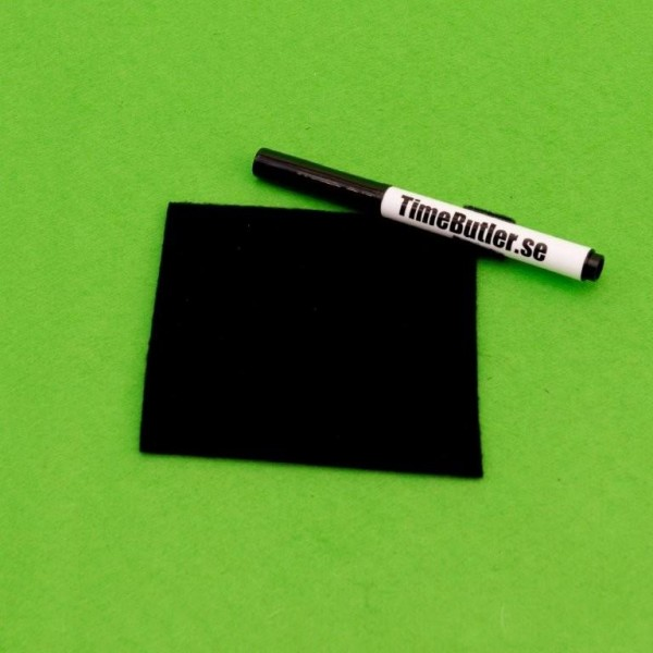 Svart white-boardpenna + fleecesudd